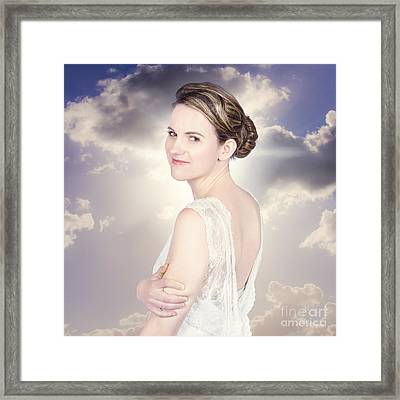 Classy Bride Enjoying Outdoor Wedding Framed Print by Jorgo Photography - Wall Art Gallery