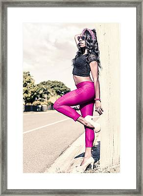 Classy Model In Elegant Fashion Outfit By Road Framed Print by Jorgo Photography - Wall Art Gallery