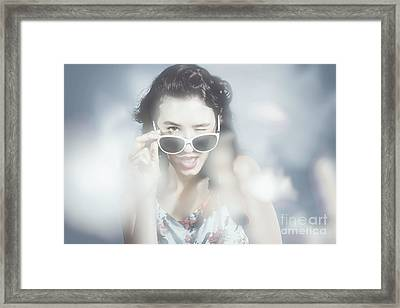 Classy Sixties Fashion Girl In Foggy Field Framed Print by Jorgo Photography - Wall Art Gallery