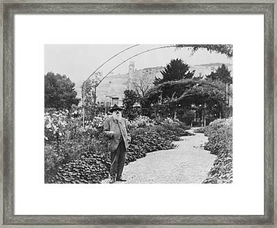 Claude Monet In His Garden Framed Print by French School
