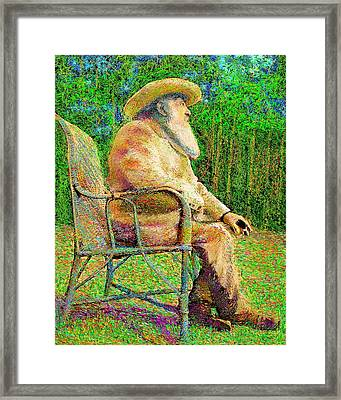 Framed Print featuring the painting Claude Monet In His Garden by Hidden Mountain