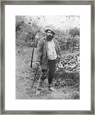 Claude Monet In His Garden Framed Print by Theodore Robinson
