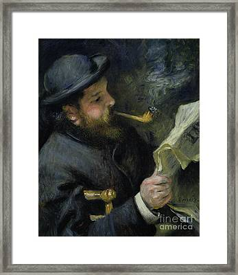 Claude Monet Reading A Newspaper Framed Print by Pierre Auguste Renoir