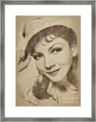 Claudette Colbert, Vintage Actress By John Springfield Framed Print