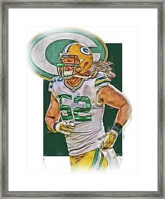 Clay Matthews Green Bay Packers Oil Art Framed Print