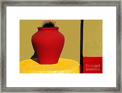 Clay Pot In Red Framed Print by Linda  Parker