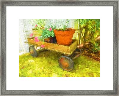 Clay Pot In Wooden Wagon Framed Print