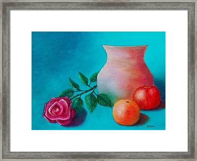 Framed Print featuring the painting Clay Pot Still Life by Susan DeLain