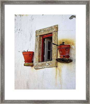 Framed Print featuring the photograph Clay Pots In A Portuguese Village by Marion McCristall