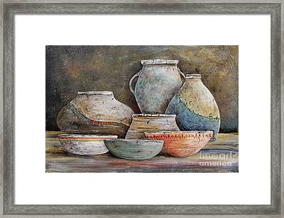 Framed Print featuring the painting Clay Pottery Still Lifes-a by Jean Plout