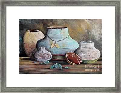 Framed Print featuring the painting Clay Pottery Still Lifes-b by Jean Plout