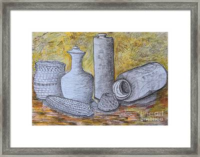 Clay Vases And Baskets Framed Print by Caroline Street