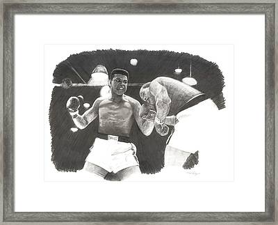 Framed Print featuring the drawing Clay Vs Liston 1 by Noe Peralez