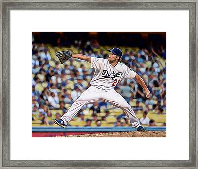 Clayton Kershaw Baseball Framed Print