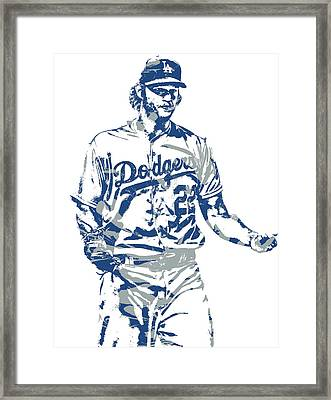 Clayton Kershaw Los Angeles Dodgers Pixel Art 10 Framed Print