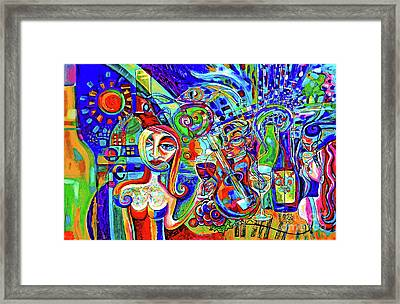City At Night Music And Wine Abstract Framed Print by Genevieve Esson