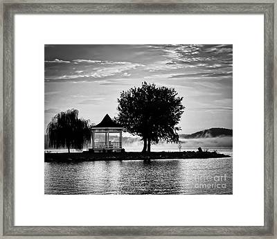 Claytor Lake Gazebo - Black And White Framed Print