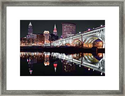 Framed Print featuring the photograph Cle In Selective Color by Frozen in Time Fine Art Photography