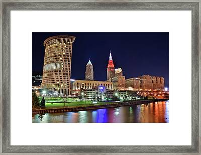 Cle Over The Cuyahoga Framed Print by Frozen in Time Fine Art Photography