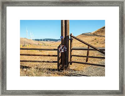 Clean Power And Old Ranch Gates Framed Print