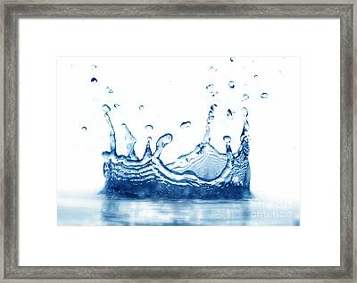 Clean Water Splash On White With Reflection Framed Print by Michal Bednarek