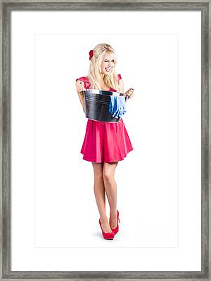 Cleaning Maid With Metal Wash Bucket Framed Print
