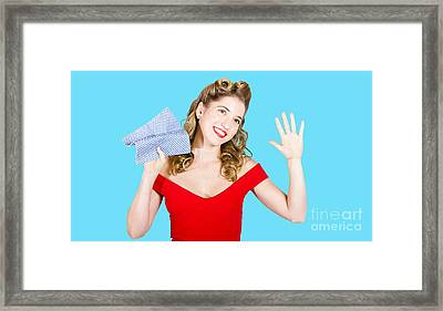 Cleaning Pin Up Maid Holding Washer Rag On White Framed Print