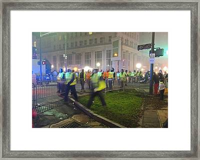 Cleaning Up After The Mardi Gras Parade Framed Print by Marian Bell