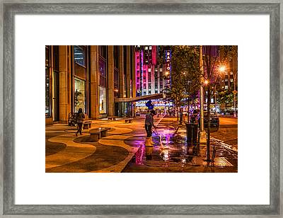 Cleaning With Neon Framed Print