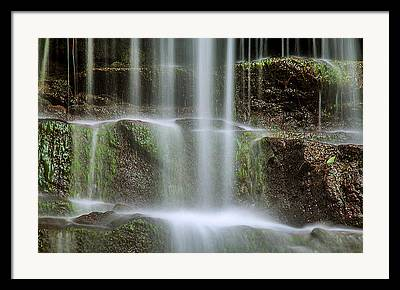 Water Falling Down Rocks Framed Prints