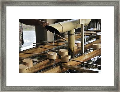 Cleansing Purification Fountain With Ladels At The Meiji Shrine Yoyogi Park Tokyo Japan Framed Print