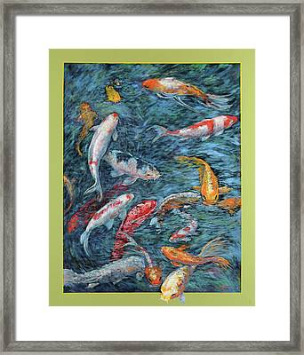 Clear Creek Koi With Painted On Mat Framed Print