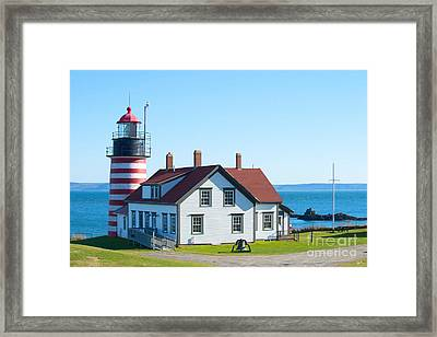 Clear Day At West Quoddy Head Lighthouse Framed Print by Alana Ranney