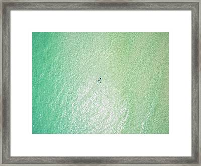 Clear Gulf Paddle Board Aerial Framed Print