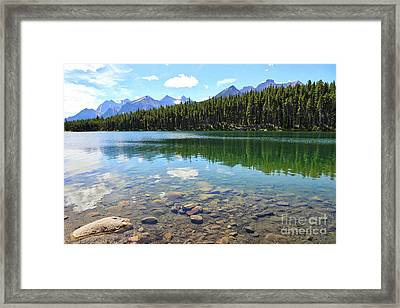 Clear Hector Lake With Mountain Range Framed Print