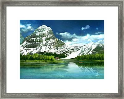 Clear Lake And Mountains Framed Print by Thubakabra