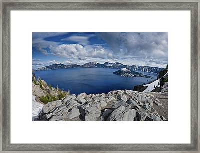 Clearing Storm At Crater Lake Framed Print