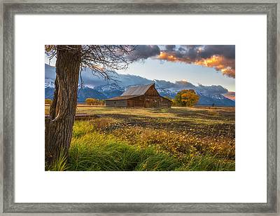 Clearing Storm Over Moulton Barn Framed Print by Darren White