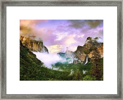 Clearing Storm Over Yosemite Valley Framed Print by Edward Mendes
