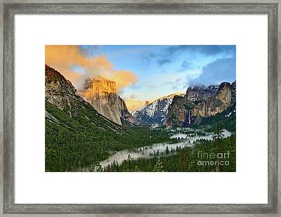 Clearing Storm - View Of Yosemite National Park From Tunnel View. Framed Print