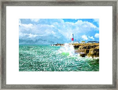 Framed Print featuring the mixed media Clearing Storm - Portland Bill Lighthouse by Mark Tisdale