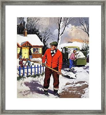 Clearing The Snow Framed Print by English School