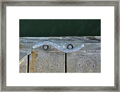 Cleat On A Dock Framed Print