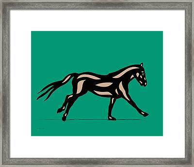 Clementine - Pop Art Horse - Black, Hazelnut, Emerald Framed Print