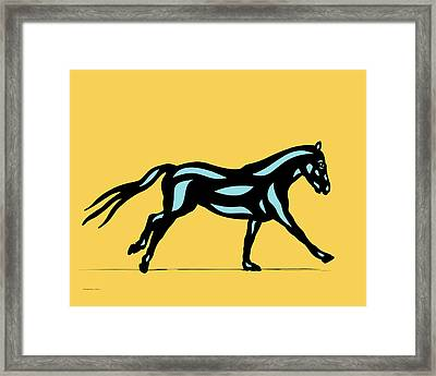 Clementine - Pop Art Horse - Black, Island Paradise Blue, Primrose Yellow Framed Print