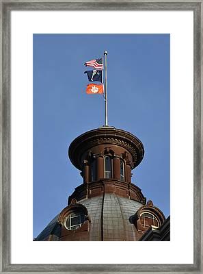 Clemson Flag At State House Framed Print