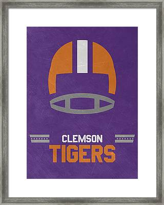 Clemson Tigers Vintage Football Art Framed Print