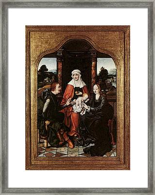 Cleve Joos Van St Anne With The Virgin And Child And St Joachim Framed Print