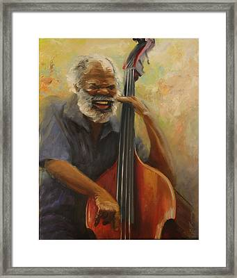 Cleve Playing The Jazz Framed Print by Jill Holt