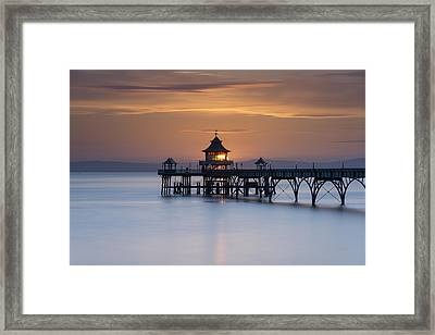 Clevedon Pier Sunset Framed Print by Carolyn Eaton